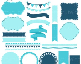 Borders, Banners & Frames Clipart Set - clip art set of blue frames, tags, borders - personal use, small commercial use, instant download
