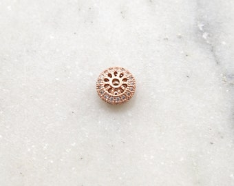 Fancy 9mm Pave Cubic Zirconia CZ Rose Gold Rhodium Plated Rondelle Saucer Spacer  Bead Jewelry Making Supplies