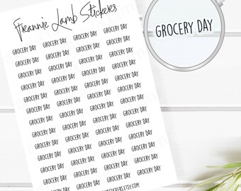 Grocery Day Planner Stickers (COLOR OPTIONS), 52 Clear Matte Stickers, Planner Stickers, Text Stickers, See Through Stickers, Labels