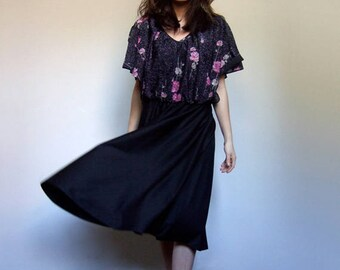 70s Metallic Dress 1970s Vintage Boho Floral Sundress Black Summer Dress Metallic Sparkle Day Dress - Large L