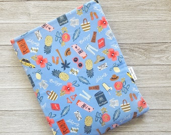 Summer Vacation Book Sleeve Story Sleeve - kindle sleeve, tablet sleeve, e-reader sleeve, kindle case, gift for her, teacher gift, book beau