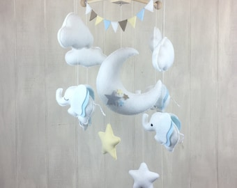 Baby mobile - elephant mobile - moon mobile - cloud mobile - star mobile - elephant nursery - gender neutral mobile