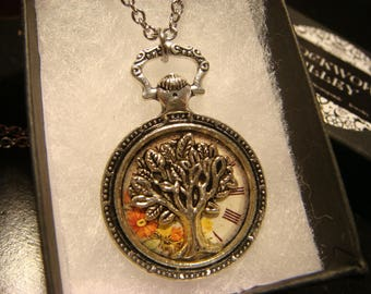 Tree of Life over  Floral Clock -Pocket Watch Style Pendant Necklace in Antique Silver (2481)
