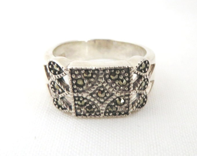 Vintage Marcasite Silver Ring, Sterling Silver Ring, Beaded Marcasite Ring, Wide Band Ring, Boho Jewelry, Unique Gift For Her