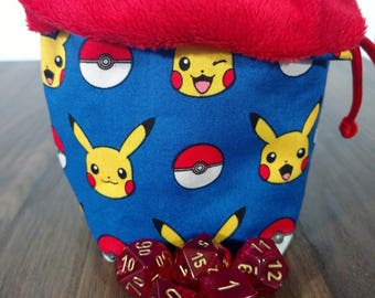 Reversible PIKACHU Dice Bag with Red Paracord