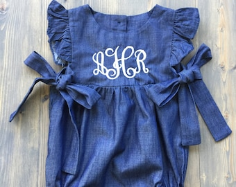 Monogrammed Denim Chambray Bubble for Baby Girls