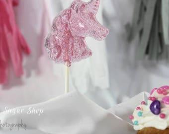 Pink Glitter Unicorn Lollipops, Set of 10, Party Favors, Lollipops, Unicorn, Unicorn Candy, Unicorn Birthday, Unicorn Party Favors