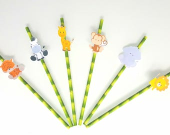 set of 6 straws - jungle animals - for party birthday
