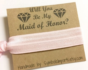 Maid of Honor Gift - Hair Tie - Will you be my Maid of Honor Gift - Hair Tie Favor - Maid of Honor Proposal - Hair Tie Gift
