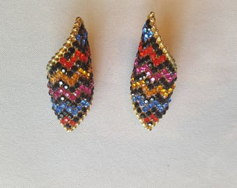 Incredible Bold Vintage Multicoloured Sparkly Earrings