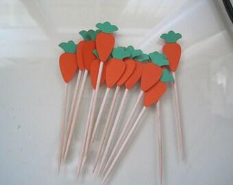 12 Easter carrot food picks