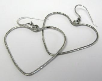 Forged Heart Sterling Silver Earrings