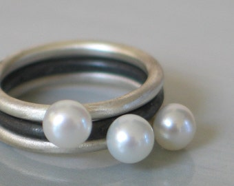 Sterling silver Pearl Stacking Rings