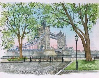 Tower Bridge London, Original Painting by Roisin O'Shea