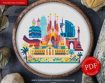 Barcelona Cross Stitch Pattern for Instant Download *P145| Easy Cross Stitch| Counted Cross Stitch|Embroidery Design| City Cross Stitch