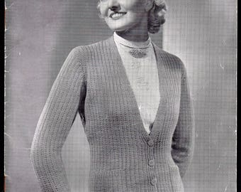P and B Lady's Cardigan, Janet Design, Knitting Pattern 3507, 1930s