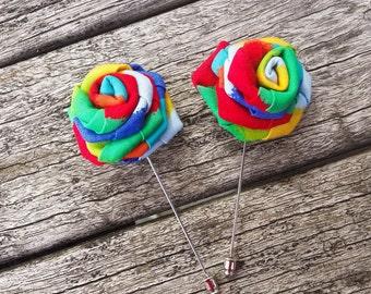 Pride Lapel Flower - Rainbow Pride lapel - LGBT lapel flower -Rainbow Lapel Button-Pride Suit Pin - Colorful Lapel Flower - Men Lapel Flower
