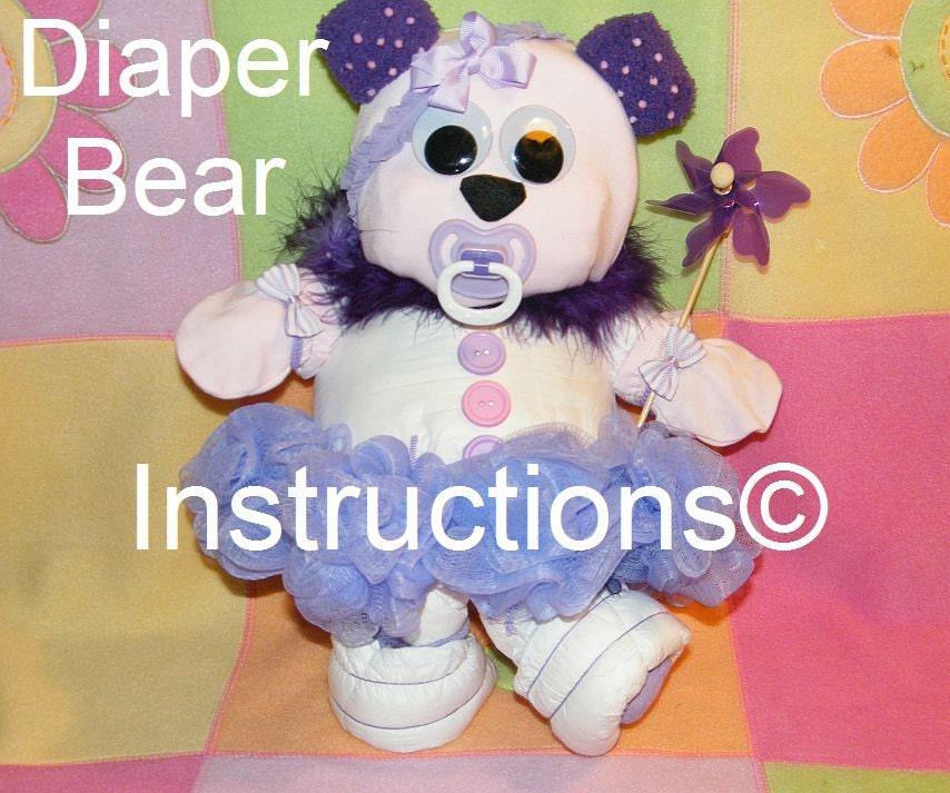 Diaper Bear Instructions Diaper Cake Topper 4 Baby Shower