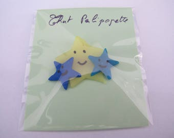 Trio yellow and Blue Star brooch