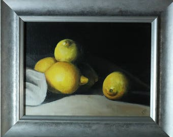 Lemon Still Life, Oil painting Framed and Ready to Hang, Fruit Painting, Yellow Artwork by Uk Artist Alex Jabore