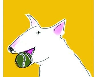 English Bull Terrier Card Cheerful dog with ball