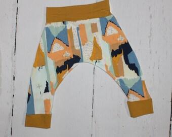 Brush Strokes Harem Pants, Baby and Kids Harem Pant Leggings, Gender Neutral, Mustard, Blue, Orange, White