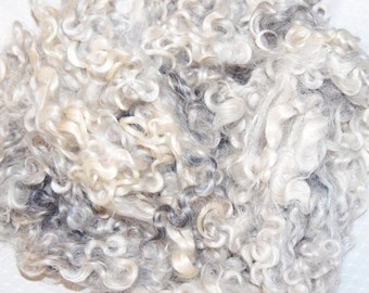 Cotswold Sheep Wool, Doll Hair, Doll Wigs, Santa Beards, Locks for Spinning, Felting and Fiber Art in shades of Silver Gray 4 oz.