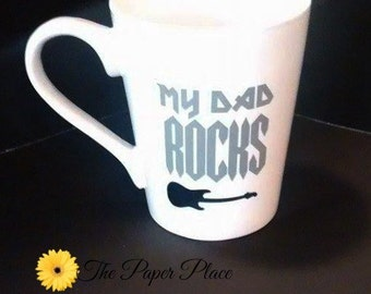 My Dad Rocks, Dad Rocks Guitar, Dad Coffee Mug, Guitar Dad, Fathers Day Gift, Dad Day Gift, Dad Cup, Heavy Metal Coffee, Cool Dad Gift