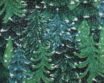 """Trees on green with Snow and silver sparkle 42""""-44""""wide 100% cotton"""