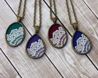 Handmade Jewelry, Teardrop Or Oval Pendant, Lace, Anniversary, Bridesmaid, Green, Purple, Burgundy, Blue Boho Necklace, Unique Gift Women