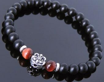 Men's Women Matte Black Onyx Red Tiger Eye 925 Sterling Silver Bracelet Fleur de Lis DiyNotion Handmade BR659