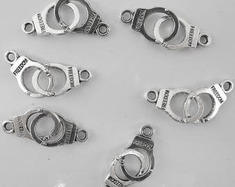 10 charms bc126 antiqued silver-plated double cuffs