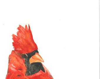 Cardinal Profile Watercolor Print  10x10""