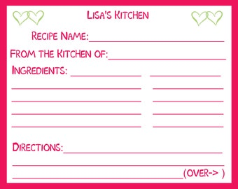 50 Personalized Recipe Cards   - Raspberry