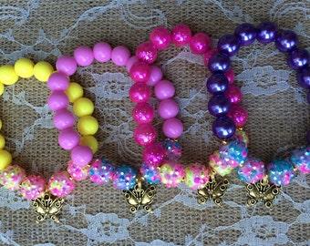 Set of 6 butterfly bracelets.. Butterfly party.. Butterfly party favor.. Butterfly party favor bracelets.. Garden party favor