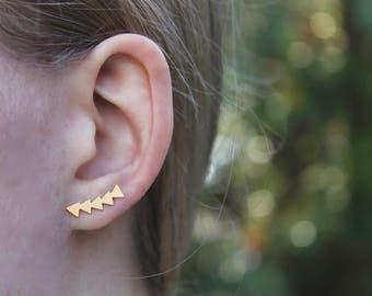 Ear Climber // Gold Triangle Earrings // Geometric Earrings // Ear Crawler // Minimal Earrings // Triangle Earring // Wrap Earrings