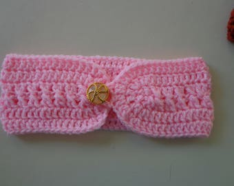 Crocheted Head band, ear warmer, head wrap, Adult button on