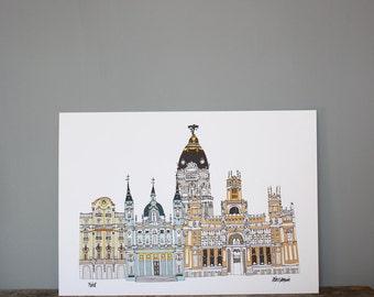 Madrid Illustration Print A4 - Illustration - Spanish Architecture - Madrid Skyline