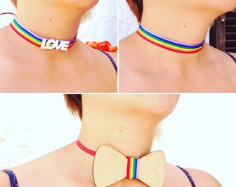 Gay Pride chokers and Bow ties (bowtie)