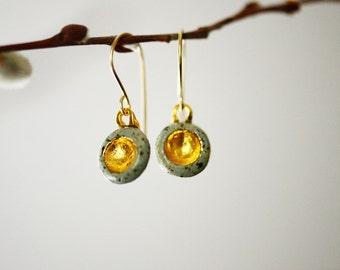 22k Gold Stone Barnacle Earrings - Porcelain Jewelry -  Mothers Day Jewelry, wedding jewelry, Ceramic Earrings, Nickel Free, 14k gold filled