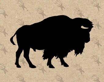 Bison silhouette Buffalo Bull Image Instant Download Digital printable clip art graphic fabric transfer burlap iron on t-shirt HQ 300dpi