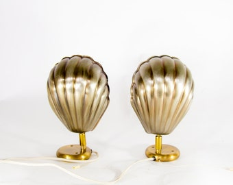 Set of vintage clam shell lamps - Hollywood Regency style