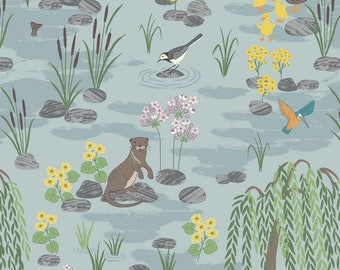 Down by the River in Light Blue - A219.1 - Down By the River - Lewis and Irene Fabric - By the Yard