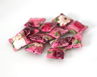 Pink Rose Beads, Polymer Clay Pillow Beads, 12 Pieces, Dozen - Made to Order