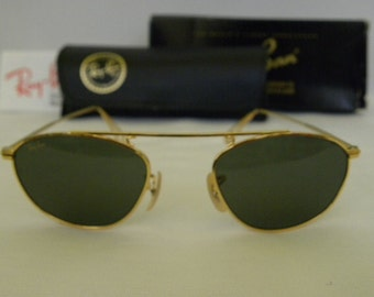 New Vintage B&L Ray Ban Vintage Modified Aviator Gold W2003  Sunglasses NOS