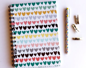 Funky Hearts A5 Notebook