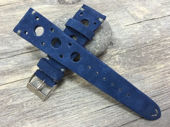 Rally Watch strap, Leather watch band,Suede Blue watch band, Racing watch band, 22mm strap, 22mm watch band, 20mm watch strap, FREE SHIPPING
