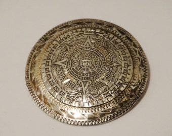 """Mayan Sterling Calendar Vintage 2"""" & 23 grams Broch/Pendant"""