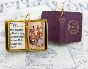 Little Women by Louisa May Alcott - Miniature Book Shaped Charm Quote Pendant- for charm bracelet or necklace.