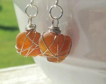 Wire Wrapped Light Amber Beach Glass Earrings, Lake Erie Beach Glass, Drop Earrings, Nickel-Free Earrings